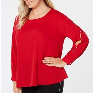 NY collection red cutout sleeve blouse 3X